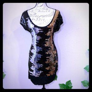 BCBG Maxazria Sequin Gold Silver Dress